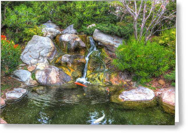 Japanese Fish Greeting Cards - Japanese Garden  Greeting Card by Heidi Smith