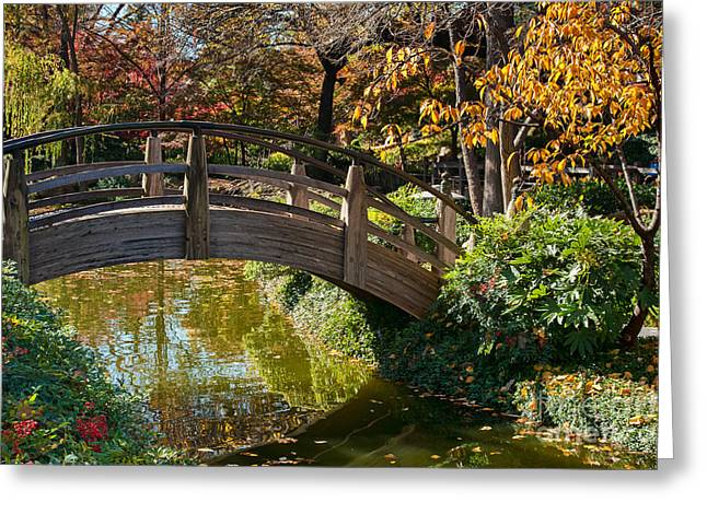 Japanese Garden in Fall Greeting Card by Iris Greenwell