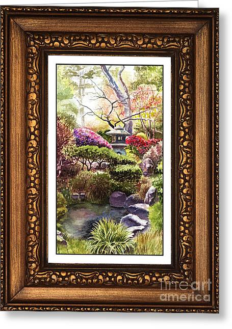 Realistic Watercolor Greeting Cards - Japanese Garden In Vintage Frame Greeting Card by Irina Sztukowski
