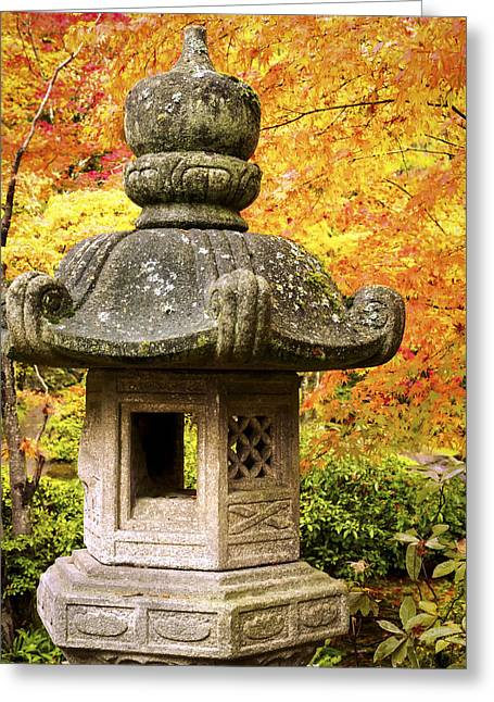 Tend Greeting Cards - Stone Lantern Greeting Card by Kyle Wasielewski