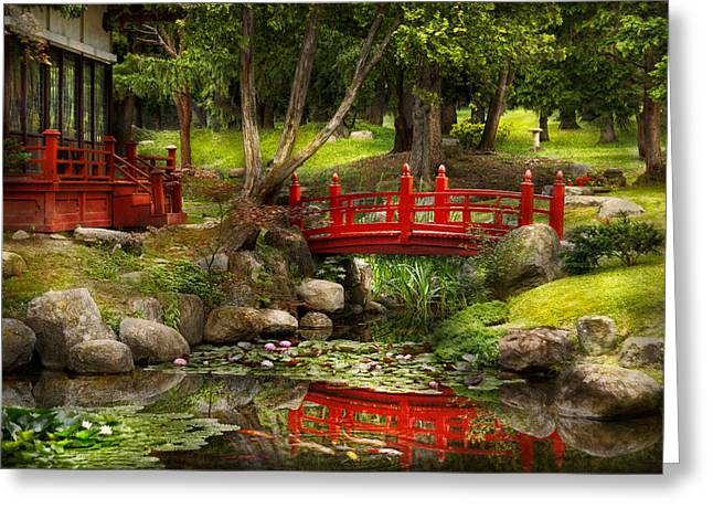 Garden Scene Greeting Cards - Japanese Garden - Meditation Greeting Card by Mike Savad