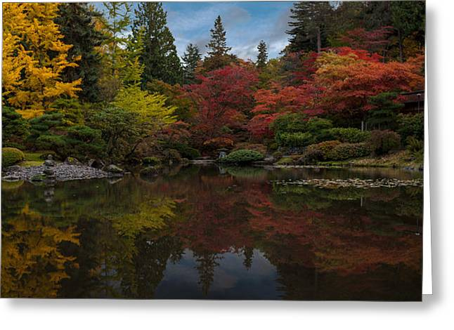 Japanese Garden Reflection Greeting Card by Mike Reid