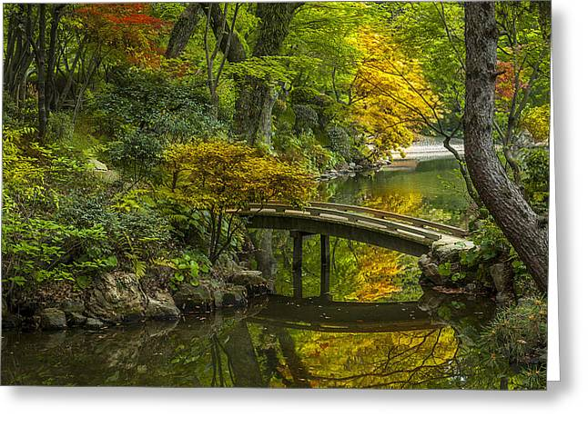 Cheerful Photographs Greeting Cards - Japanese Garden Greeting Card by Sebastian Musial