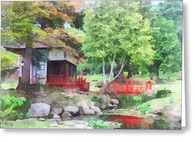 Ponds Greeting Cards - Japanese Garden With Red Bridge Greeting Card by Susan Savad