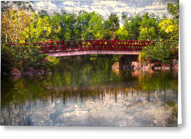 China Beach Greeting Cards - Japanese Gardens Bridge Greeting Card by Debra and Dave Vanderlaan