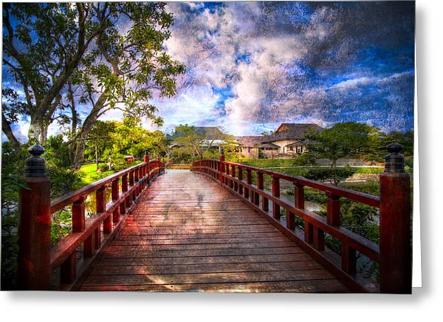 China Beach Greeting Cards - Japanese Gardens Greeting Card by Debra and Dave Vanderlaan