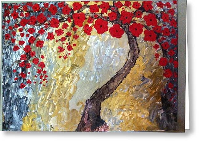 Pallet Knife Greeting Cards - Japanese Gold Greeting Card by Arabella Woods