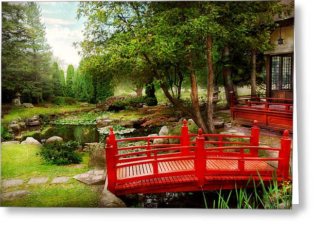 Japan House Greeting Cards - Japanese - Harmony and Nature Greeting Card by Mike Savad