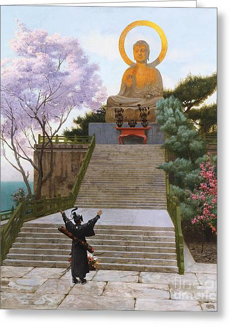 Jean Leon Gerome Greeting Cards - Japanese Imploring a Divinity Greeting Card by Jean Leon Gerome