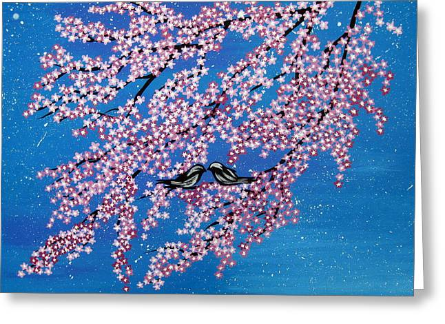 Catherine White Paintings Greeting Cards - Japanese Joy Greeting Card by Cathy Jacobs