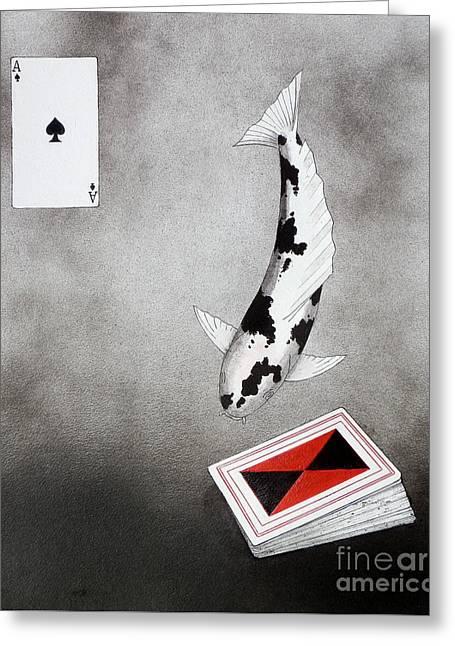 Sakana Greeting Cards - Japanese Koi Ace of spades Greeting Card by Gordon Lavender