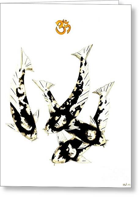 Sakana Greeting Cards - Japanese Koi The Beatles Greeting Card by Gordon Lavender