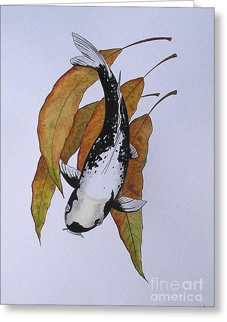 Sakana Greeting Cards - Japanese Koi Kawarimono Autumn Water painting Greeting Card by Gordon Lavender