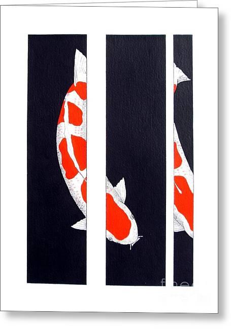 Sakana Greeting Cards - Japanese Koi Kohaku Division painting Greeting Card by Gordon Lavender