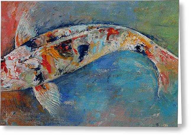 Coy Greeting Cards - Japanese Koi Greeting Card by Michael Creese