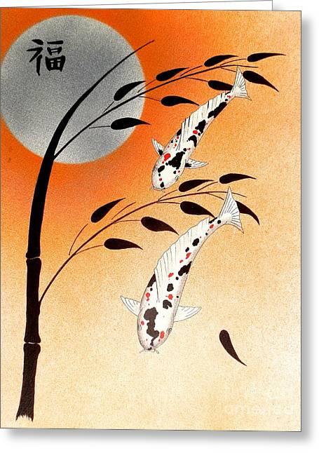Sakana Greeting Cards - Japanese Koi sanke Good Fortune Greeting Card by Gordon Lavender
