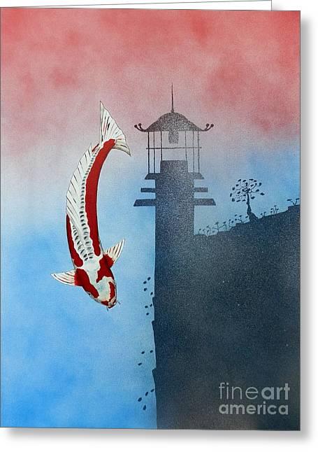 Sakana Greeting Cards - Japanese Koi Shusui Reflection Greeting Card by Gordon Lavender