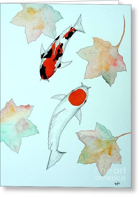 Sakana Greeting Cards - Japanese Koi Tancho and Showa Sanke painting Greeting Card by Gordon Lavender