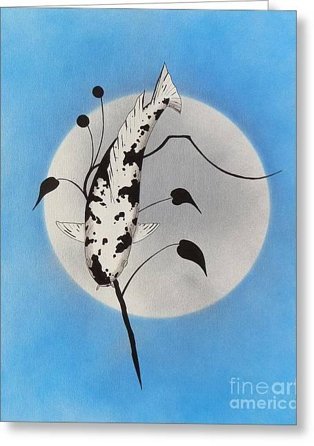 Sakana Greeting Cards - Japanese koi utsuri Mono Ikebana blue Greeting Card by Gordon Lavender