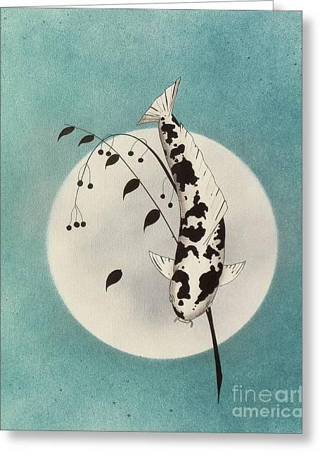 Sakana Greeting Cards - Japanese koi Utsuri mono Ikebana green Greeting Card by Gordon Lavender