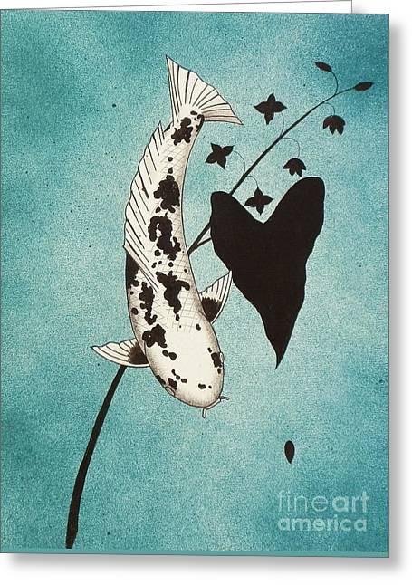 Japanese Koi Utsuri Mono Painting Greeting Card by Gordon Lavender