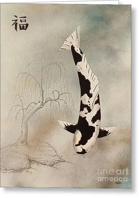 Kin Greeting Cards - Japanese koi utsuri mono willow painting  Greeting Card by Gordon Lavender