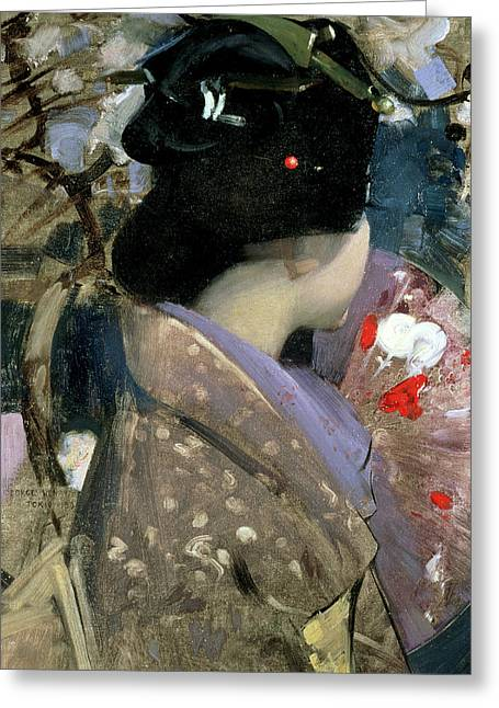 Japanese Lady With A Fan Greeting Card by George F Henry