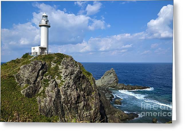 China Beach Greeting Cards - Japanese Lighthouse at Uganzaki Greeting Card by Kennerth and Birgitta Kullman