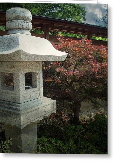 Garden Statuary Greeting Cards - Japanese Maple Greeting Card by Sue Midlock