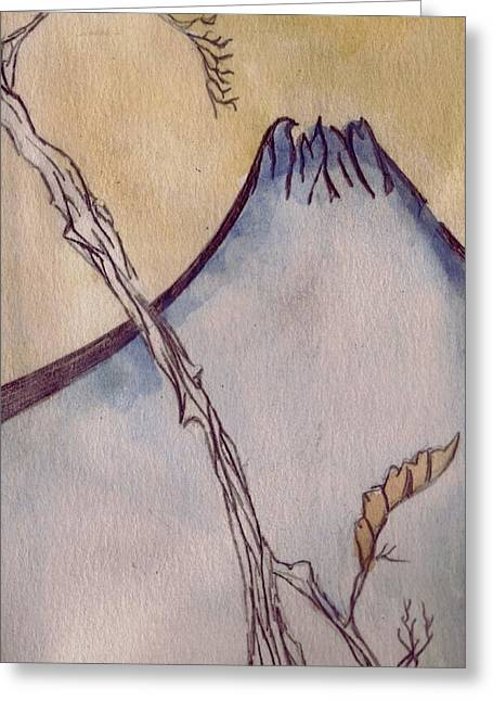 Circuit Drawings Greeting Cards - Japanese Mountain Greeting Card by Seb Mcnulty