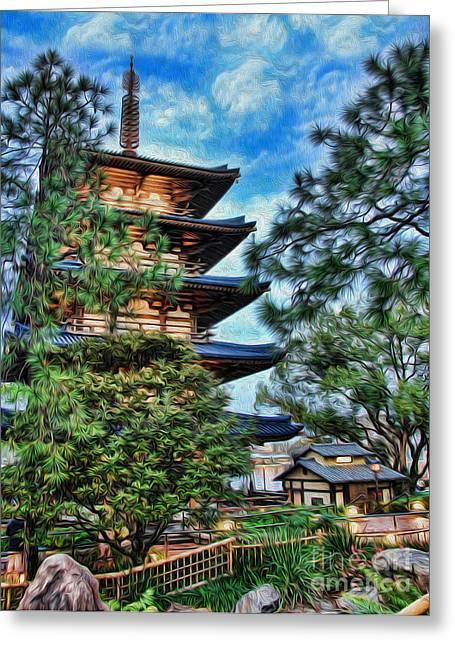 Japanese Pagoda II Greeting Card by Lee Dos Santos