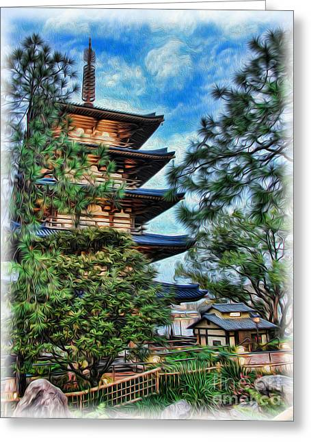 Japanese Pagoda Greeting Card by Lee Dos Santos