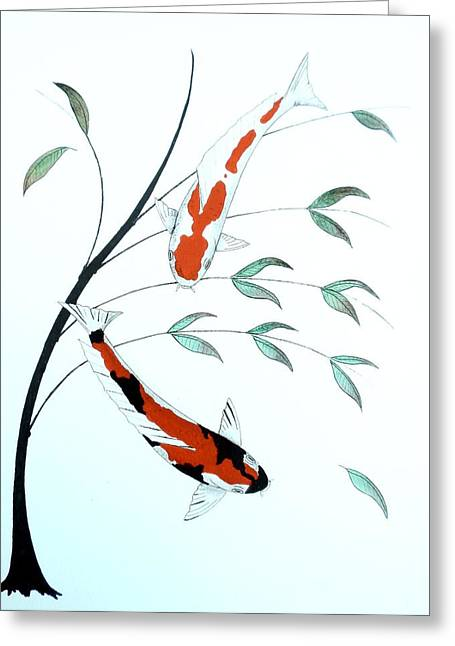 Kin Greeting Cards - Japanese painting of a Koi Kohaku and Showa Sanke Greeting Card by Gordon Lavender