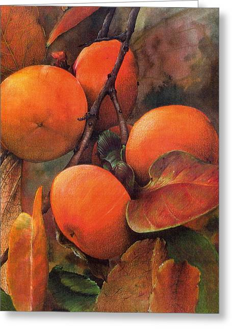 Indiana Springs Mixed Media Greeting Cards - Japanese Persimmon Greeting Card by John Christopher Bradley