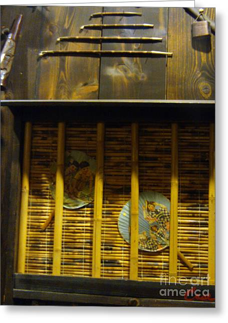 Sake Bottle Greeting Cards - Japanese Pipes with Paddle Fans in Bamboo Screen Greeting Card by Feile Case
