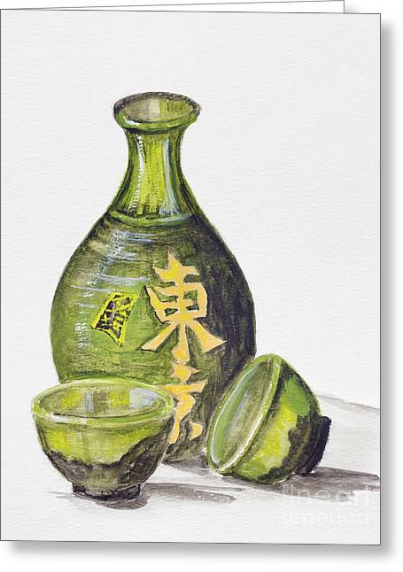 Glass Vase Greeting Cards - Japanese rice wine - Sake Greeting Card by Irina Gromovaja