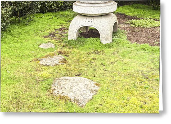 Japanese Stone Lantern Hamilton Gardens New Zealand Greeting Card by Colin and Linda McKie