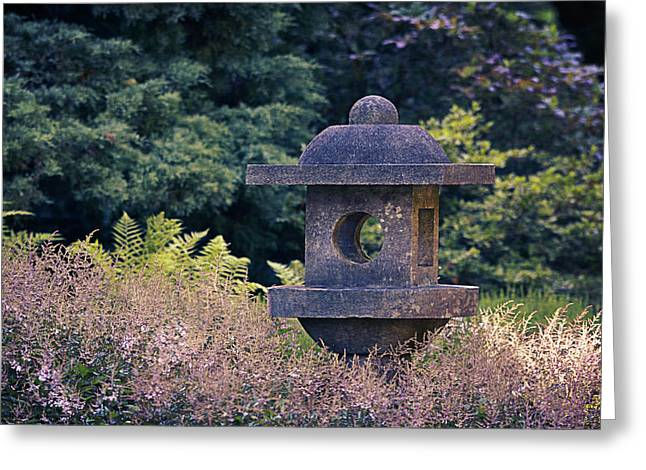 Japanese Stone Lantern Greeting Card by Maria Angelica Maira