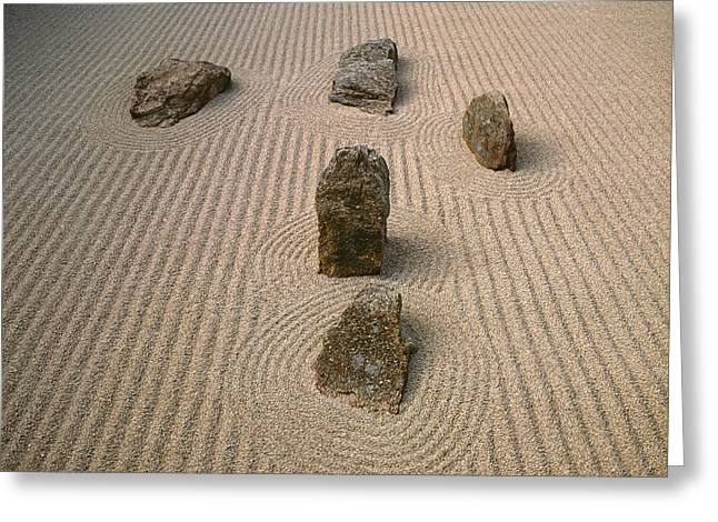 Sand Art Greeting Cards - Japanese Stone Rake Garden, San Greeting Card by Tips Images