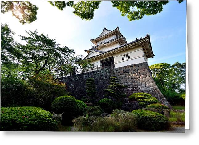 Himeji Castle Garden Greeting Cards - Japanese Style Castle with Nice Sky and Big Tree Greeting Card by Wittaya Sensod