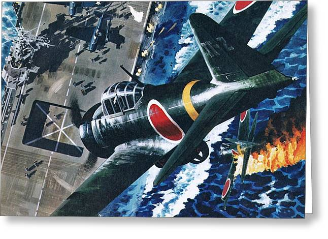 Aircraft Carrier Greeting Cards - Japanese Suicide Attack On American Greeting Card by Wilf Hardy