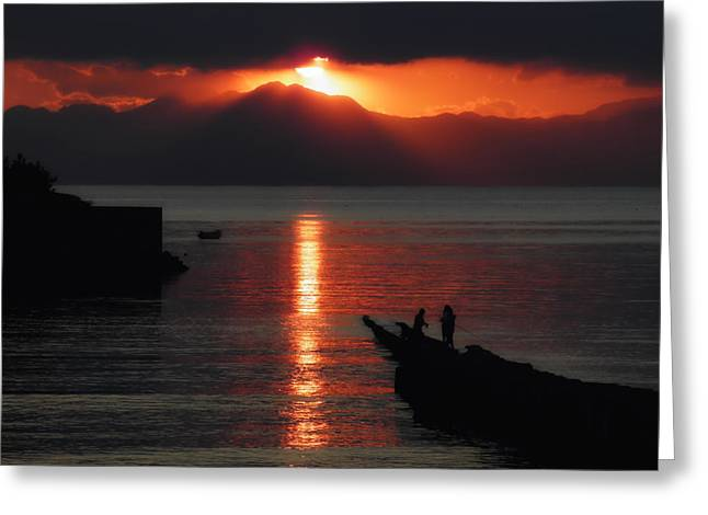 Ocean. Reflection Greeting Cards - Japanese Sunset Greeting Card by Mountain Dreams