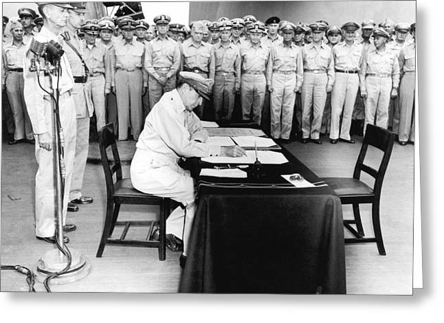 Japanese Surrender Ceremony Greeting Card by Underwood Archives