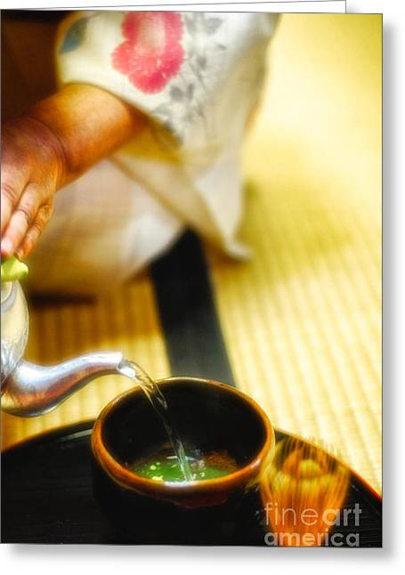 Oriental Woman Photos Greeting Cards - Japanese tea ceremony Greeting Card by David Hill