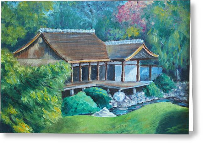 Phila Paintings Greeting Cards - Japanese Tea House Greeting Card by Joseph Levine