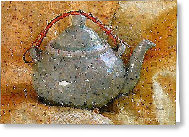 Oriental Teapot Greeting Cards - Japanese Teapot Greeting Card by Dorlea Ho