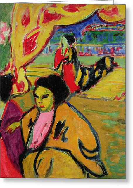 Expressionist Greeting Cards - Japanese Theatre, 1909 Oil On Canvas Greeting Card by Ernst Ludwig Kirchner