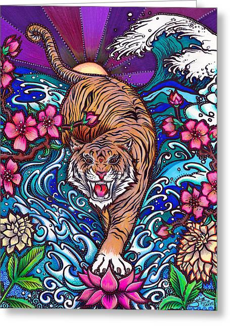 Recently Sold -  - Flower Blossom Greeting Cards - Japanese Tiger Greeting Card by Julie Oakes