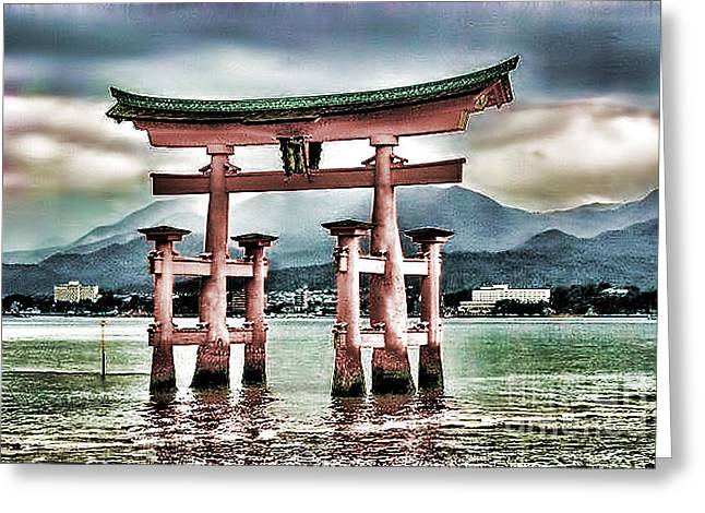 Floating Torii Greeting Cards - Japanese Torii Greeting Card by Lawrence Burry