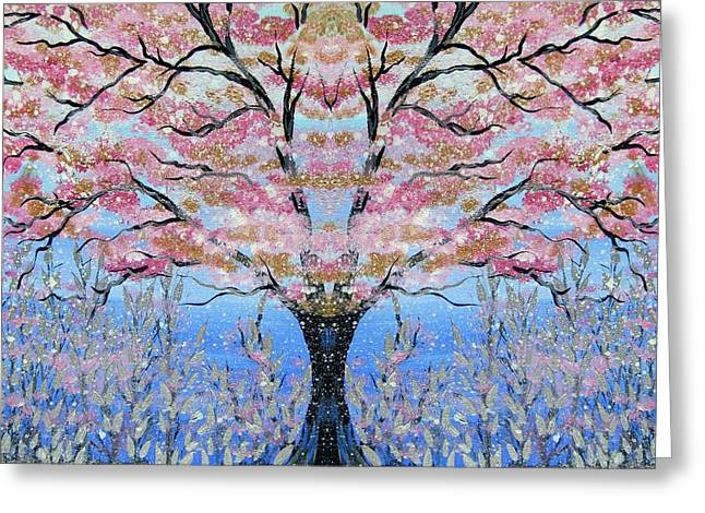 Canvas Framing Greeting Cards - Japanese Tree of Life Greeting Card by Cathy Jacobs